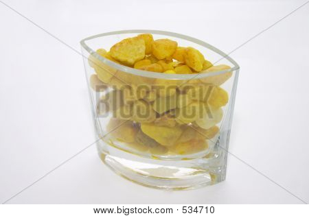 Crystal Vase With Yellow Stones