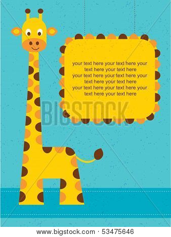 Baby shower card / birthday card with giraffe.Vector illustration.
