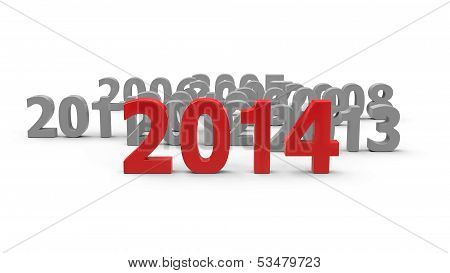 2014 come represents the new year 2014 three-dimensional rendering poster
