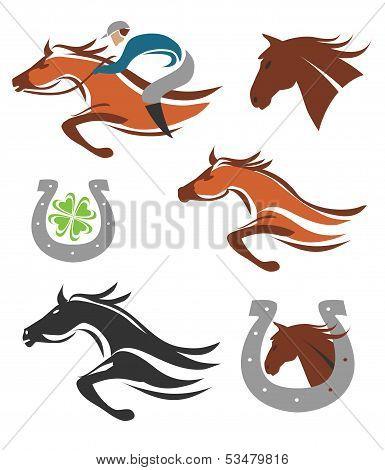 Horse racing icons symbols