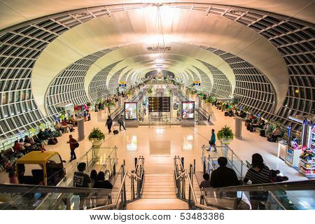 BANGKOK - OCTOBER 16  The main concourse of Suvarnabhumi Airport, designed by Helmut Jahn is the wor