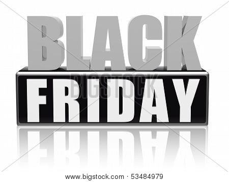 Black Friday In Black White Banner - Letters And Block