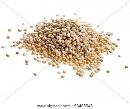 quinoa seed grain close up macro shot isolated on a white background