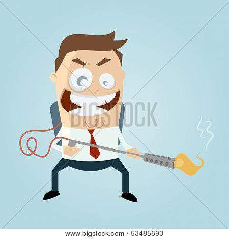 cartoon man with flamethrower