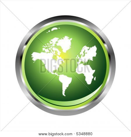 Green Glossy World sphere with glossy effect with High Contrast Colors poster