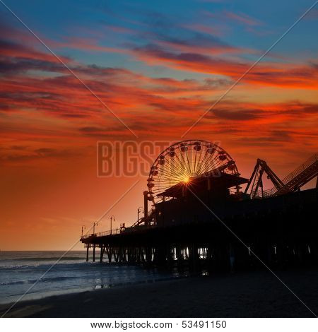Santa Monica California sunset on Pier Ferris wheel  in orange sky