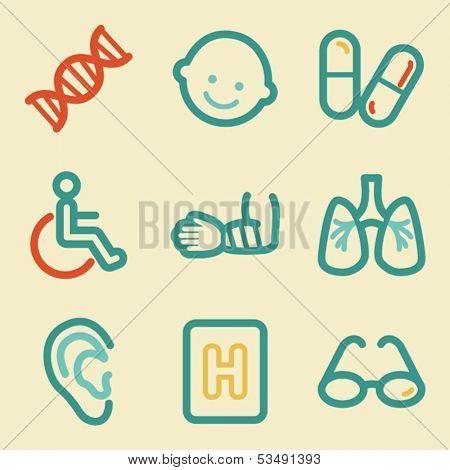 Medicine web icons, retro colors