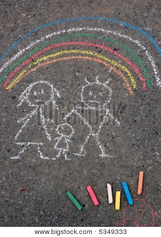Family And Rainbow. Picture On Asphalt