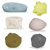 Illustration of a set of various cartoon styled rocks diamonds and other boulders ore and minerals poster
