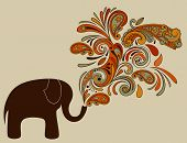 vector elephant with floral pattern coming from his trunk fully editable eps 8 file poster