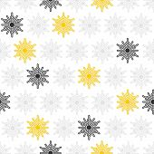 light and dark gray and yellow little dots snowflakes in regular rows winter seasonal seamless pattern on white background poster