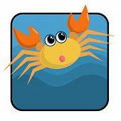 cute cartoon crab. poster