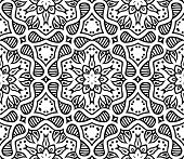 black and white moroccan ornament in vector, seamless pattern poster