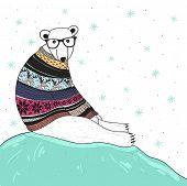 Christmas card with cute hipster polar bear. Bear with fair isle style sweater. poster