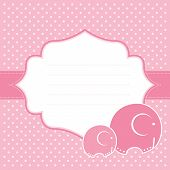 Baby girl announcement card with elephants. Vector illustration. poster