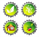 Collection of Environmetal car and bottle caps with High Contrast Colors poster