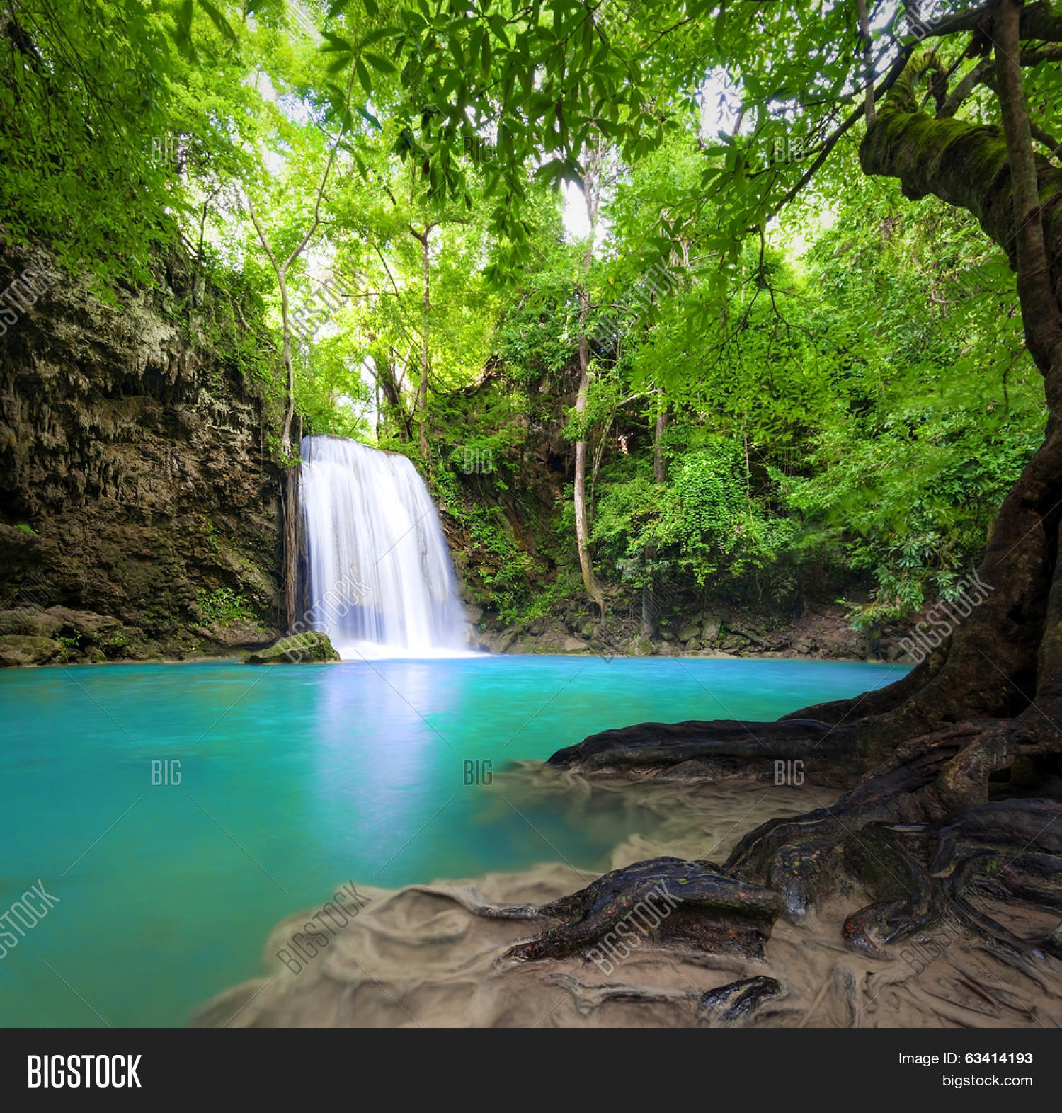 Waterfall Landscape Background Image Photo Bigstock
