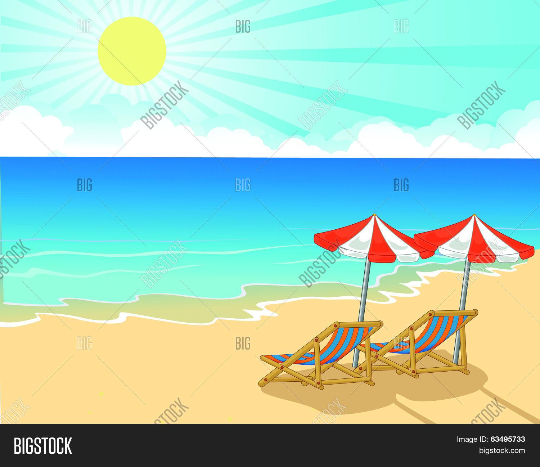 Cartoon Beach chair and umbrella on tropical beach & Cartoon Beach Chair Vector u0026 Photo (Free Trial) | Bigstock