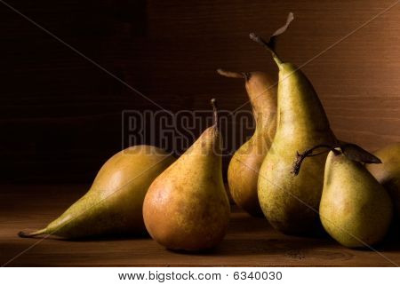 Composition Of Pears On Wooden Table