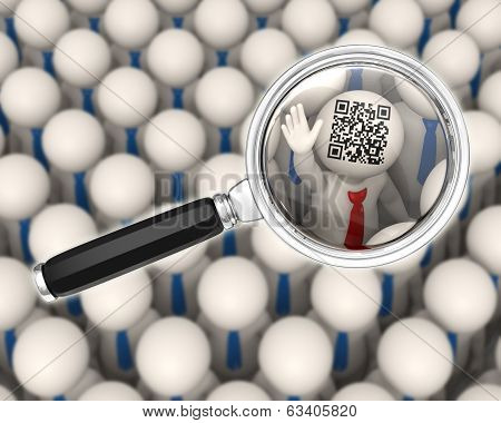 3D Business People - Qr Code - Magnifier Focus
