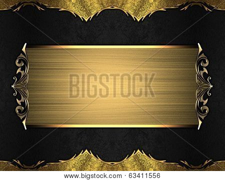 Black Background With Gold Edges With A Beautiful Finish And Gold Nameplate.
