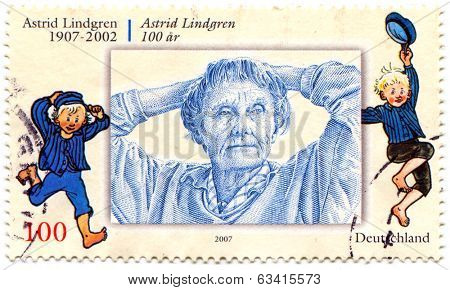 GERMANY, CIRCA 2007: postage stamp printed in Germany shows image portrait of famous Swedish writer of fiction and screenplays Astrid Anna Emilia Lindgren, circa, 2007