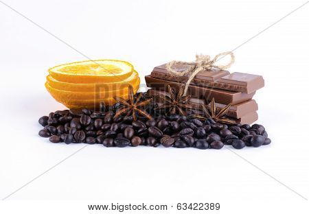 Coffee Beans, Orange Lobules, Chocolate And Spices
