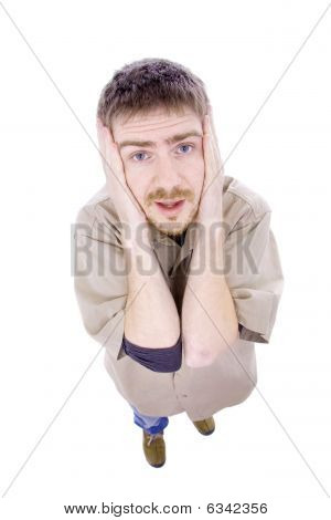 Young Depressed Man Full Body Isolated On White Background