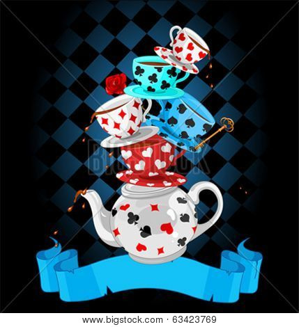 Wonderland Mad Tea Party Pyramid design