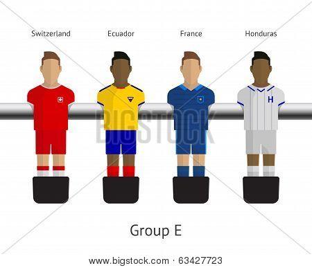 Table football, soccer players. Group E - Switzerland, Ecuador, France, Honduras