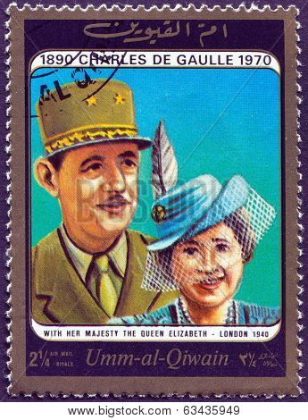 United Arab Emirates, circa 1963:  Queen Elizabeth II and Charles de Gaulle on vintage stamp, circa 1963