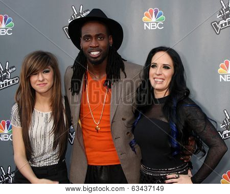 LOS ANGELES - APR 15:  Christina Grimmie, Delvin Choice, Kat Perkins at the NBC's