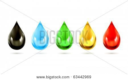 Set of multicolored droplets, vector icons poster