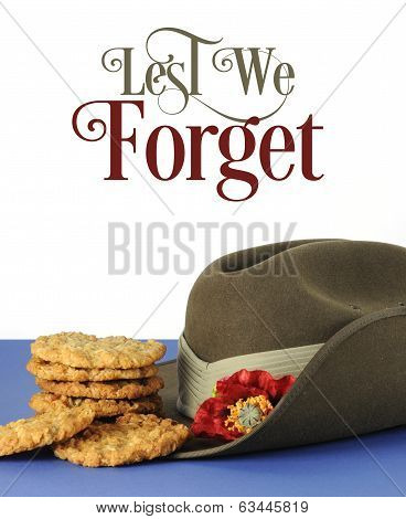 Australian Army Slouch Hat And Traditional Anzac Biscuits On White And Blue Background For Anzac Day