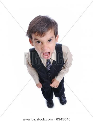 A Little Cute Kid In Business Suit Isolated