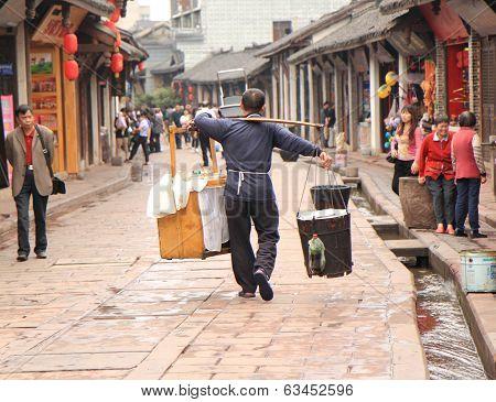 Hardworking man in Luodai China