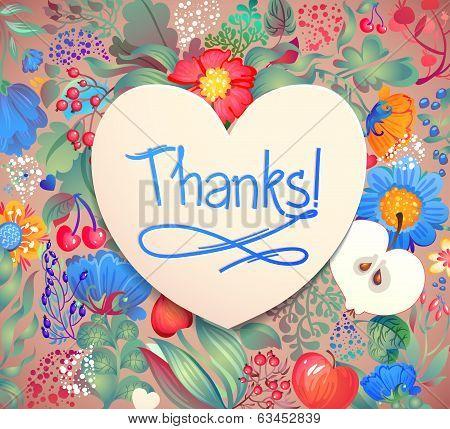 "Floral Heart Pattern ""Thanks"". Apples flowers tulip poppy chrysanthemum green leaves poster"