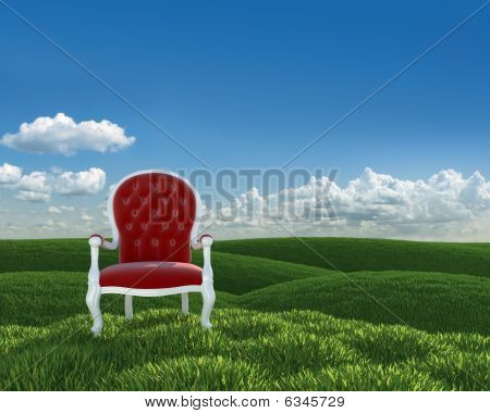 red velvet classic armchair in a green meadow of grass poster