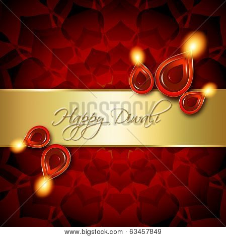 Oil Lamps With Diwali Greetings Over Red Background