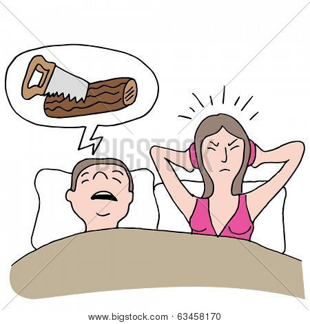 An image of a snoring husband.
