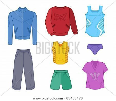 Man Set Tricot Clothes Colored