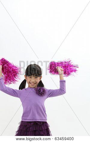 Happy chinese girl holding pom pom