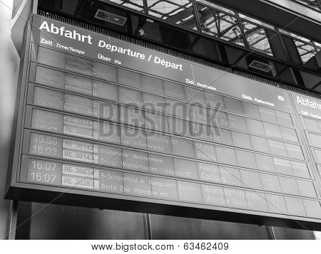Black And White Trains Time Table