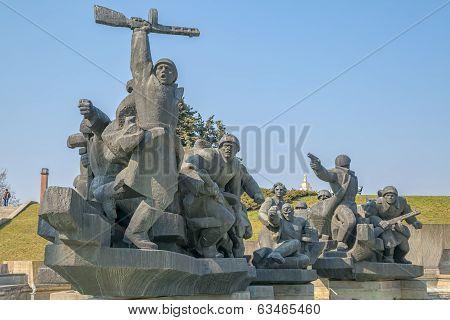Soviet era World War 2 memorial in Kiev Ukraine poster