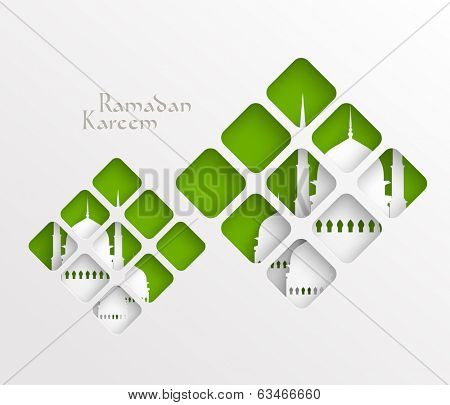 Vector Muslim Paper Graphics. Translation: Ramadan Kareem - May Generosity Bless You During The Holy Month.