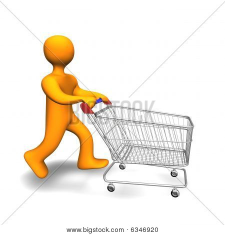 Person Shopping Cart 3D