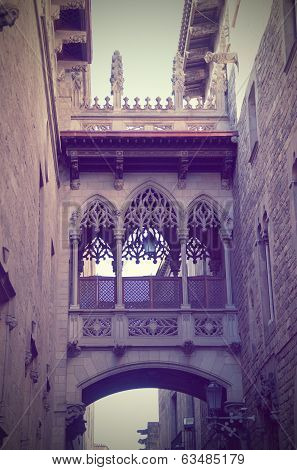 Gothic quarter in Barcelona Spain , vertical photo poster