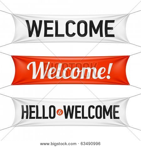 Hello and Welcome banners. Vector.