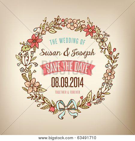 Wedding card with wreath