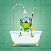 an illustration of Frog in bath with diving mask poster